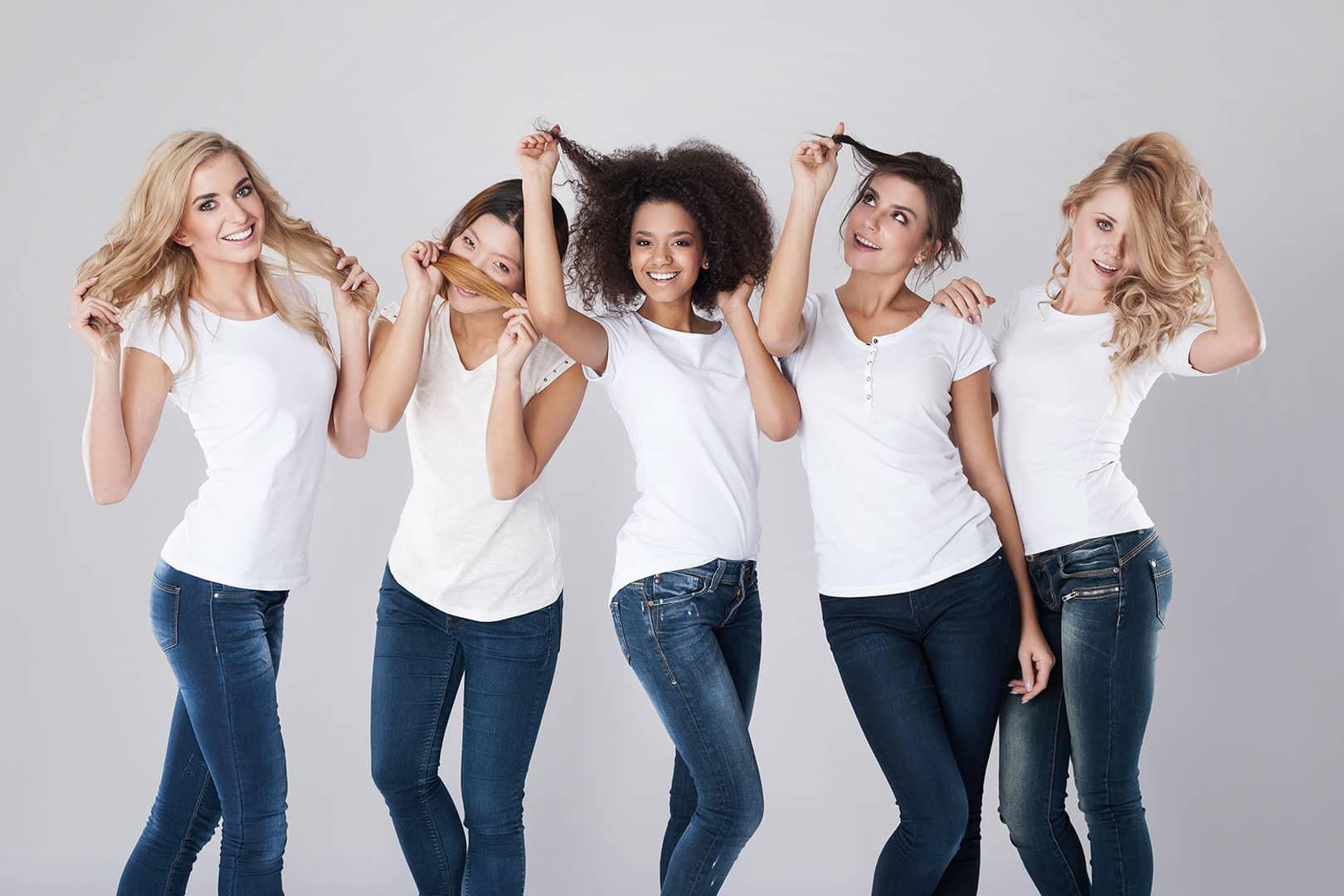 Femmes différents types de cheveux